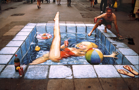 Julian Beever Girl In Pool