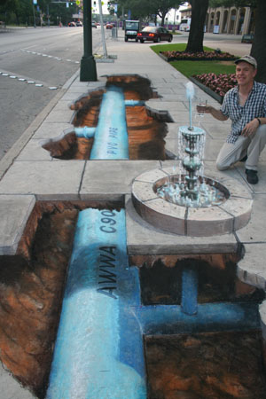 Julian Beever Water Main Drawing