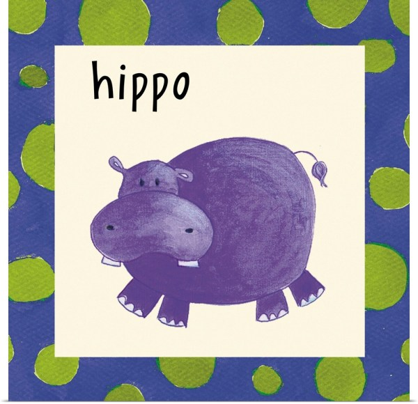 Poster Print Wall Art Entitled Hippo