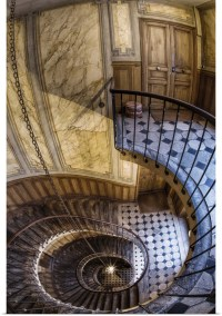Poster Print Wall Art entitled Spiral staircase in Paris ...