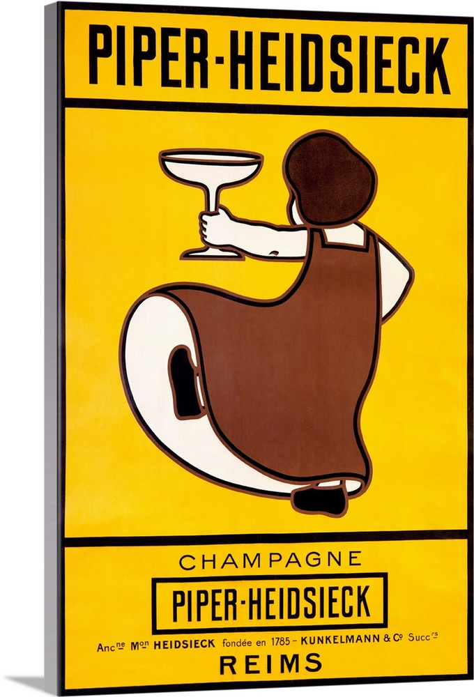 champagne piper heidsieck vintage poster solid faced canvas print