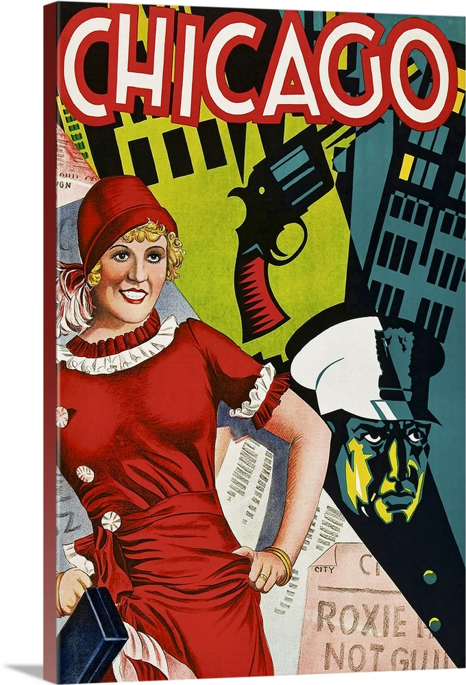 chicago vintage musical poster solid faced canvas print