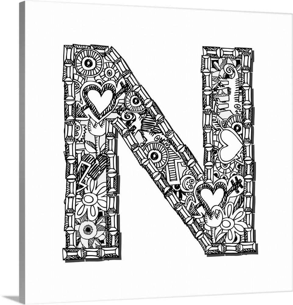 n doodle letter art