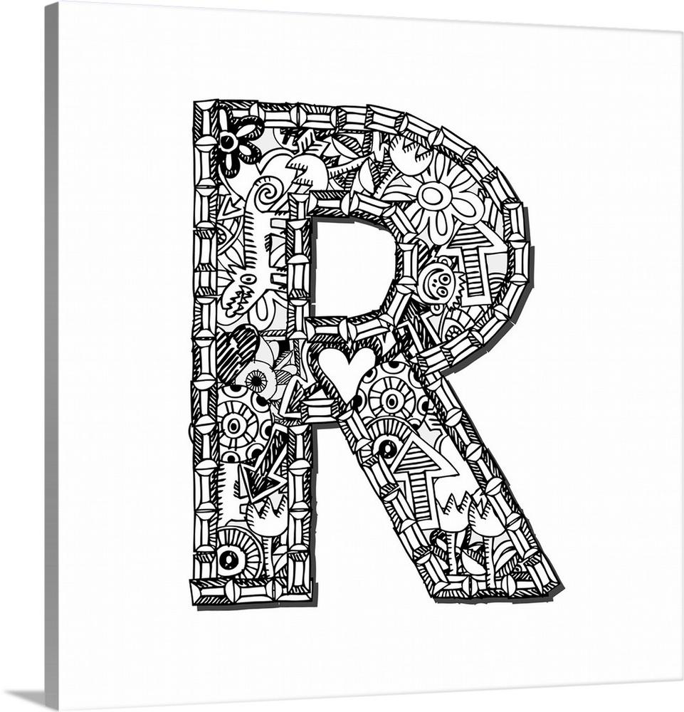 r doodle letter art