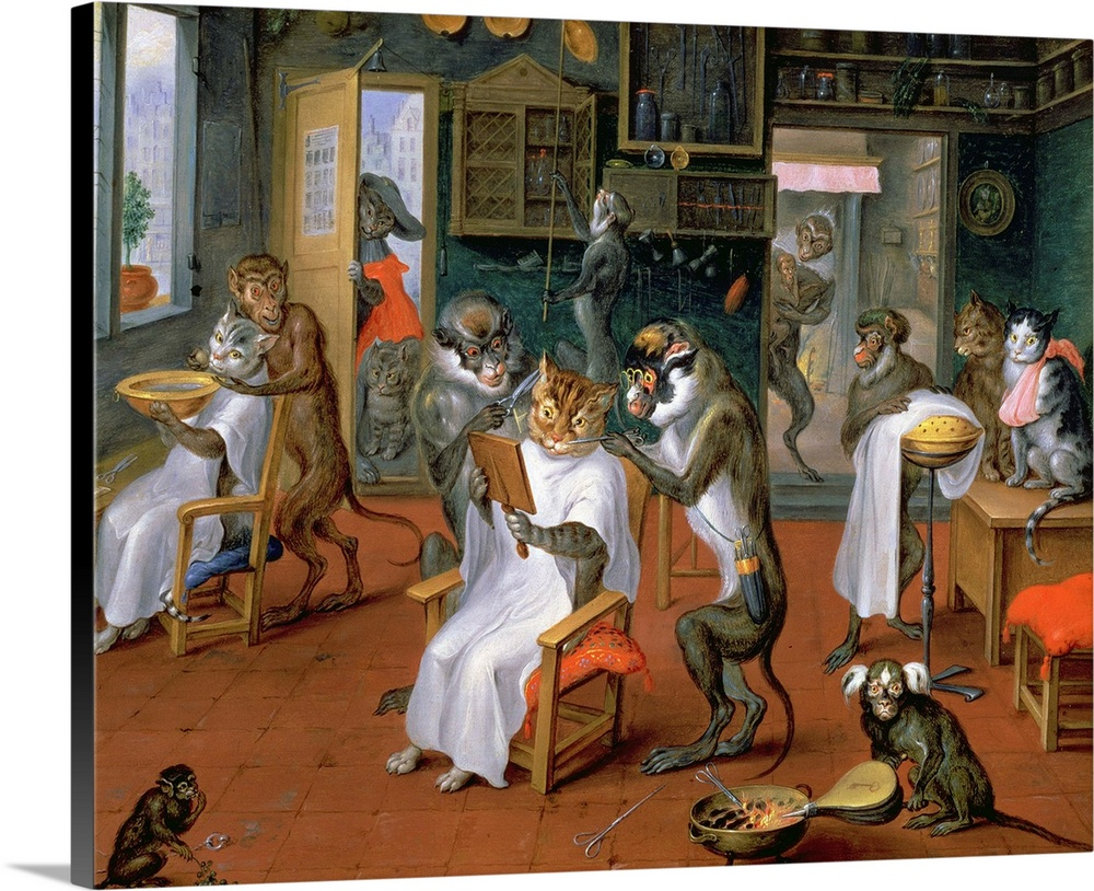 Barber' With Monkeys And Cats Wall Art Canvas Prints Framed Peels Great