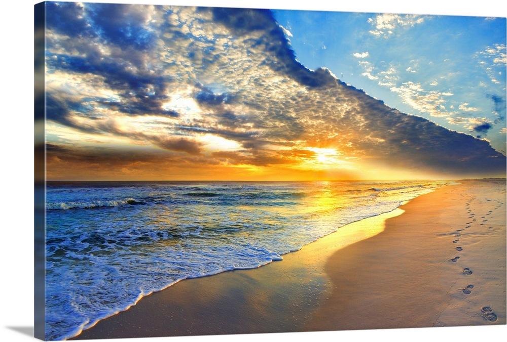gold sunset beach waves