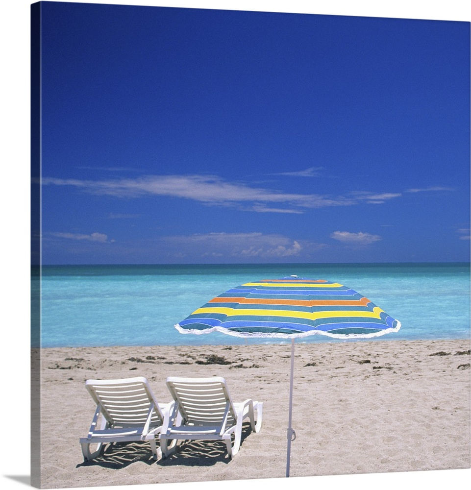 Beach Chairs With Umbrella Umbrella And Two Lounge Chairs At Miami Beach Fl