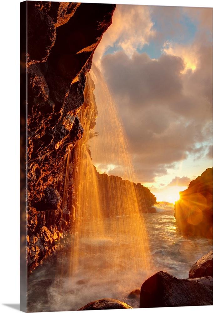Hawaii Kauai Queens Bath And Waterfall Wall Art Canvas Prints Framed Prints Wall Peels