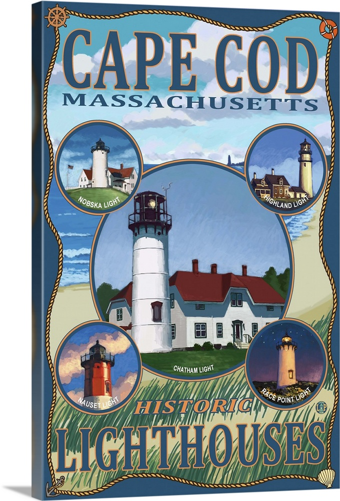 cape cod lighthouses ma retro travel poster solid faced canvas print