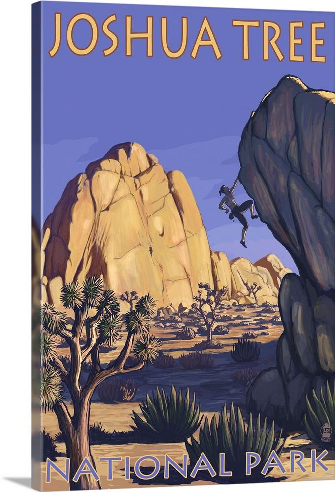 joshua tree national park ca boulder climber retro travel poster solid faced canvas print