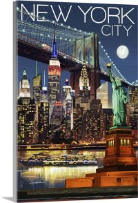 New York City, NY - Skyline at Night: Retro Travel Poster ...