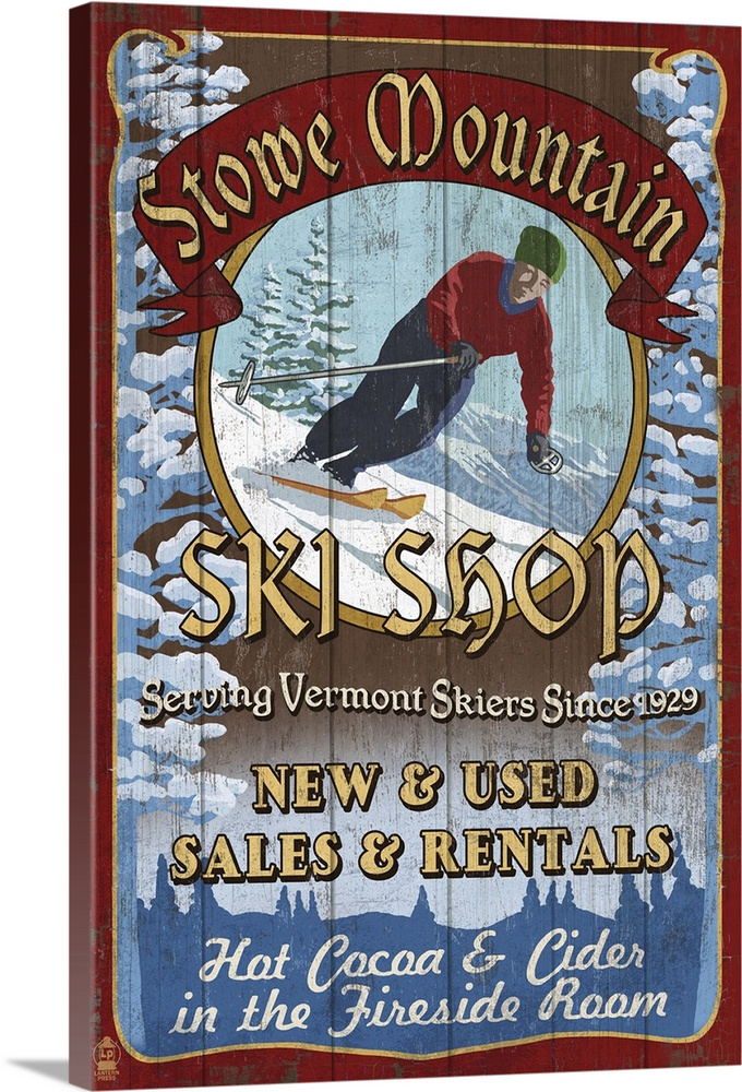 stowe mountain vermont ski shop vintage sign retro travel poster solid faced canvas print