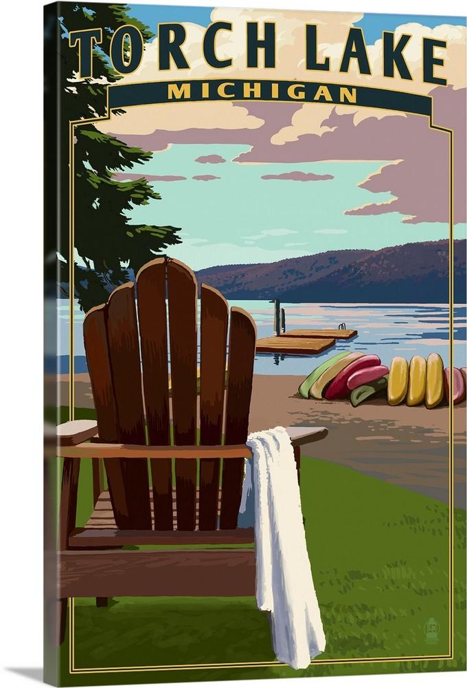michigan adirondack chair ergonomic cpt code torch lake chairs retro travel poster wall art