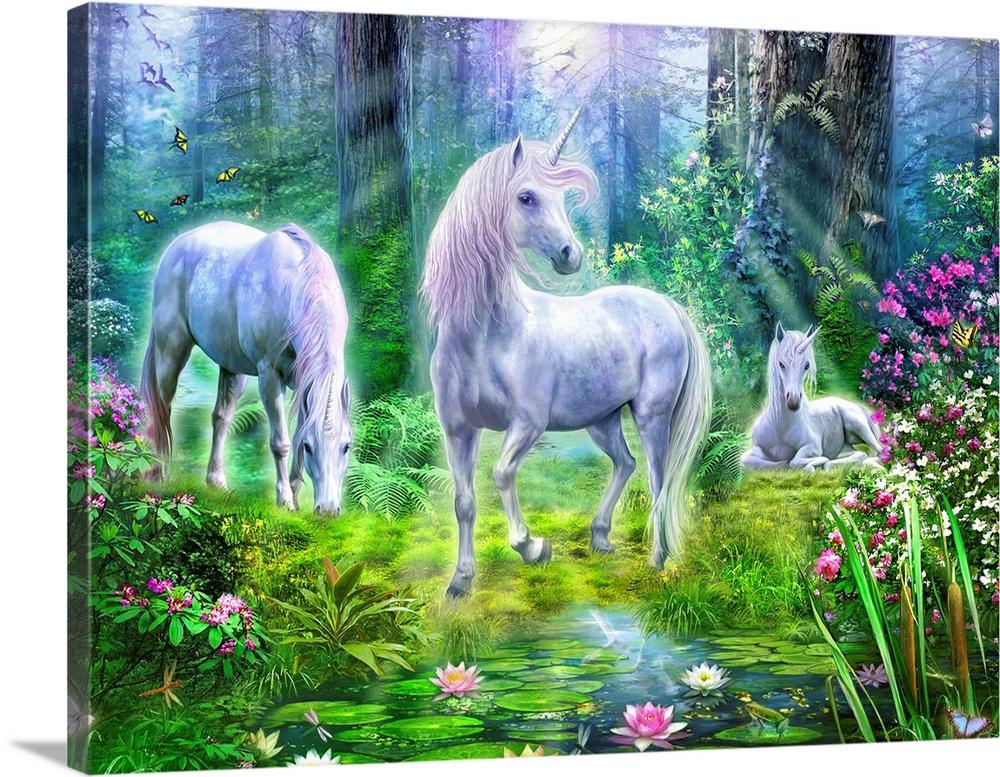 Forest Unicorn Family I Wall Art Canvas Prints Framed Prints Wall Peels Great Big Canvas