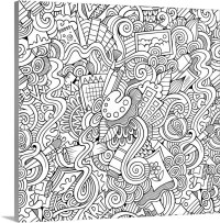 Art Doodle Coloring Canvas Wall Art Print entitled Art ...