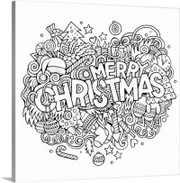 Merry Christmas Doodle Coloring Canvas Wall Art Print ...