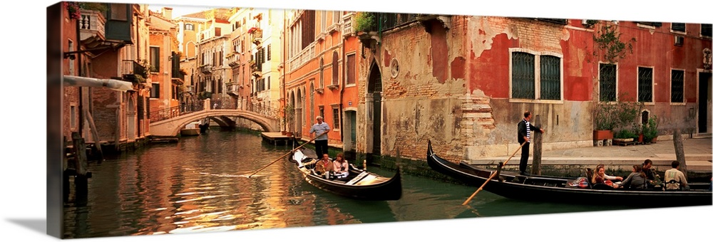 Tourists In A Gondola Venice Italy Wall Art Canvas Prints Framed ...