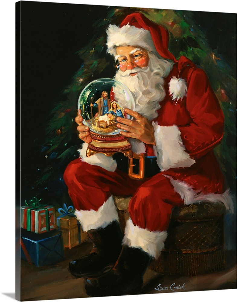 Christmas Fireplace Wallpaper Animated Santa Believes Photo Canvas Print Great Big Canvas