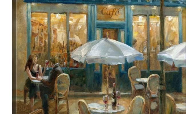 Premium Thick Wrap Canvas Wall Art Entitled Paris Cafe I