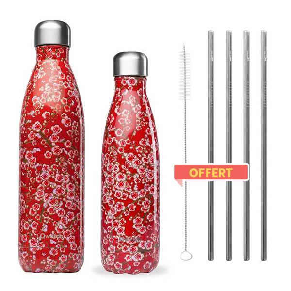 pack de 2 bouteilles isothermes flowers et pailles offertes