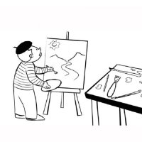 Dibujo para imprimir y colorear de un pintor