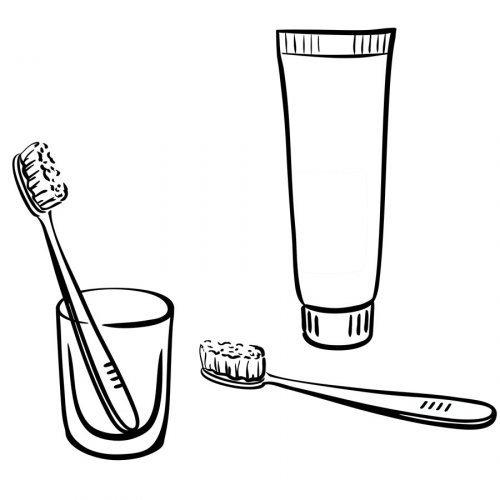 Dibujo de cepillo y pasta de dientes para colorear