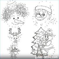 6 dibujos navideos para imprimir y unir puntos con nmeros