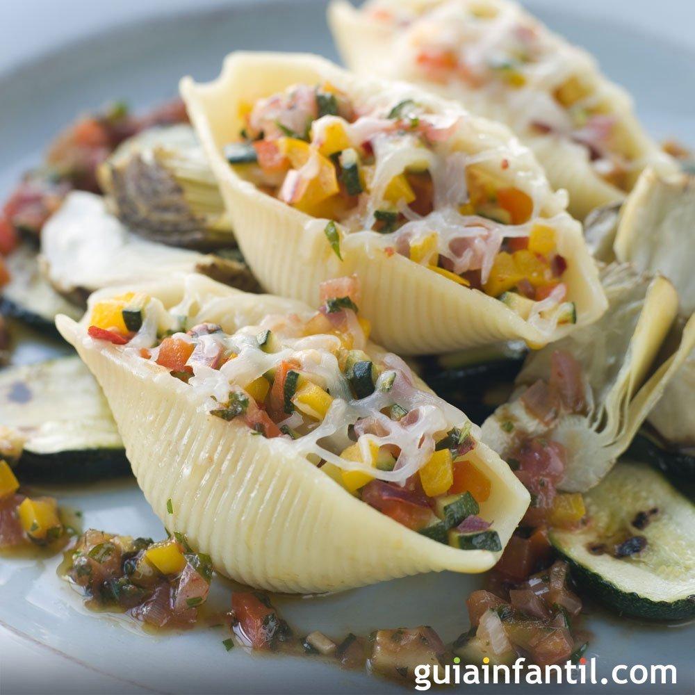 Conchiglioni rellenos de verduras Recetas italianas para
