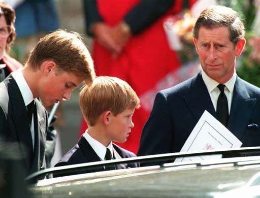 Prince Charles at Princess Diana's funeral