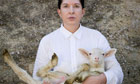Marina Abramovic with white lamb