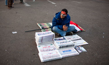 Newspaper seller in Tahrir square