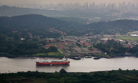 cargo ship on panama canal
