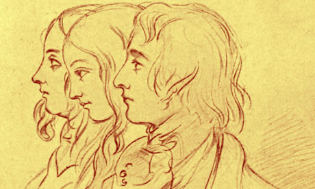 Drawing of Charles Dickens, with wife and sister-in-law