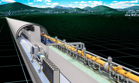 An illustration of the international linear collider (ILC)