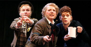Joanne Howarth (Fabian), Marjorie Yates (Sir Toby Belch) and Siobhan Redmond (Maria) in Twelfth Night, Courtyard theatre