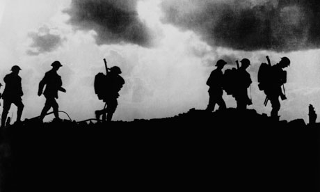 British troops marching to the trenches
