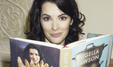 Nigella lawson reading her own cookbook