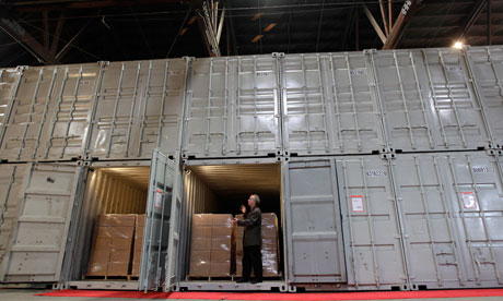 Brewster Kahle shows the converted shipping containers used to store books in Richmond, California