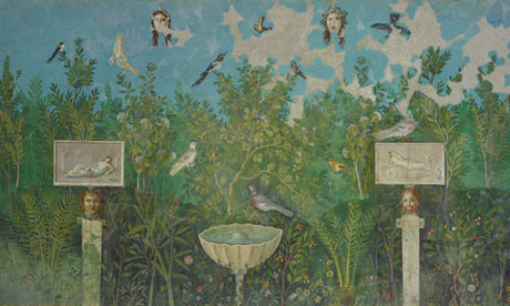 British Museum's Pompeii exhibition: garden room, fresco from the Villa Arianna