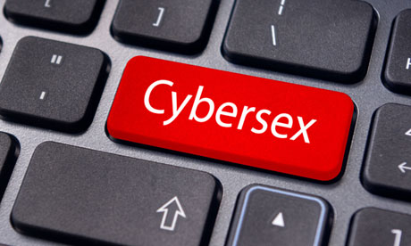 concept of cybersex or internet sex, with message on computer keyboard.