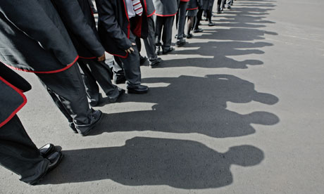 Children line up at Mossbourne community academy in Hackney.