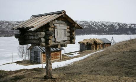 The church huts of Utsjoki, Finland
