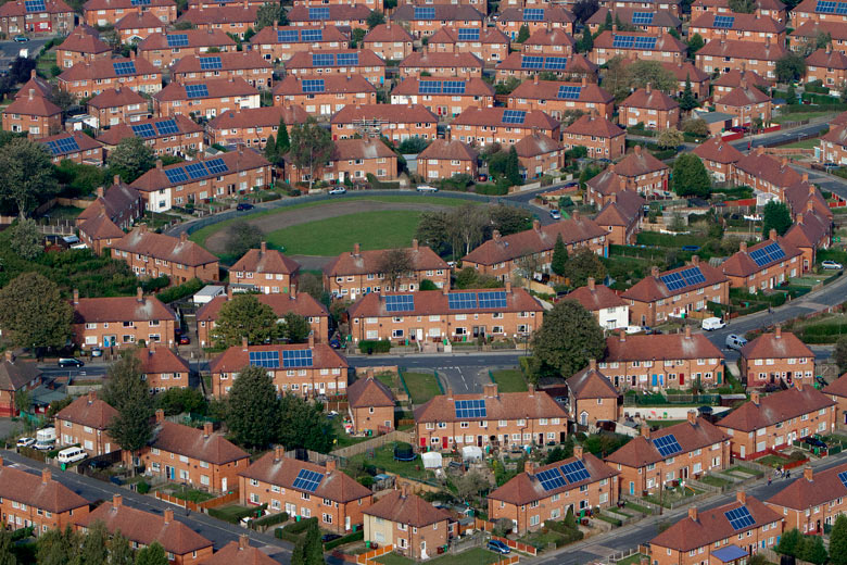 mass installation of solar panels onto residents houses, Broxtone, Nottingham