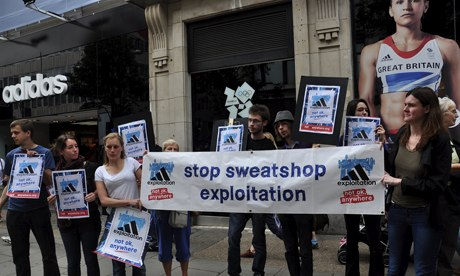 MDG : War On Want protest against sweetshop exploitation in front of Adidas' flagship store