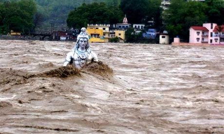 Floods in India : Shiva statue being washed away once more in Rishikesh, Haridwar in Uttarakhand