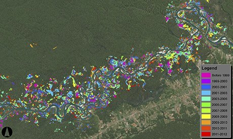 CLASlite map shows the areas along the Madre De Dios river damaged by small, clandestine gold miners