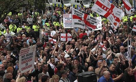 An English Defence League rally in Dewsbury, West Yorkshire