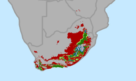 South Africa change in areas suitable for growing wine grapes through 2050