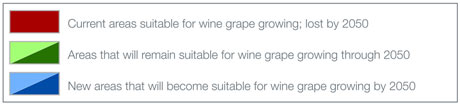 Key - change in areas suitable for growing wine grapes through 2050