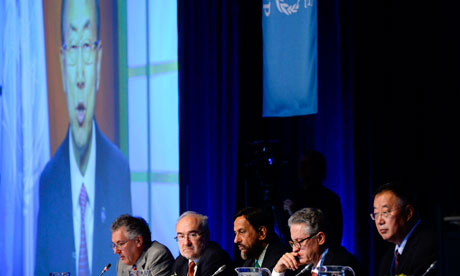 United Nations secretary general Ban Ki-moon addresses the IPCC